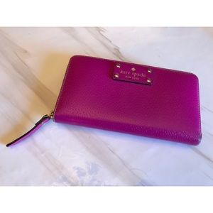 KATE SPADE ♠️ Hot Pink Leather Wallet - Pebble